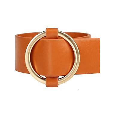 abordables Bracelet-Bracelets en cuir Femme Cuir dames Mode Bracelet Bijoux Orange Marron Rouge Forme de Cercle pour Quotidien Sortie