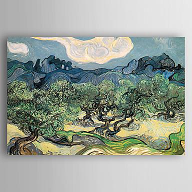 Hang festett olajfestmény Kézzel festett - Landscape Kortárs Vászon / Nyújtott vászon