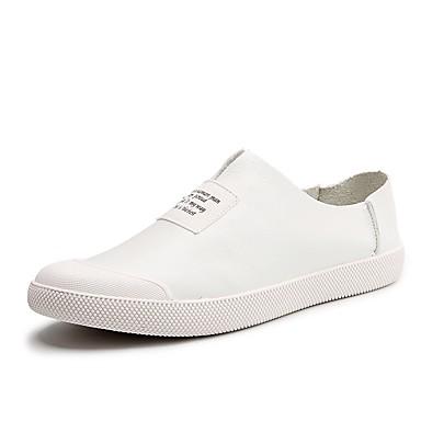 Férfi cipő PU Tavasz Ősz Kényelmes Tornacipők mert Hétköznapi Fehér Fekete