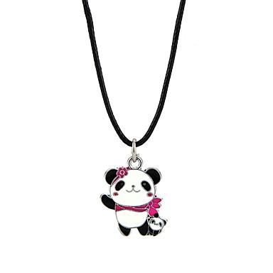 abordables Collier-Collier Pendentif Homme Femme Panda Animal Adorable Noir Colliers Tendance Bijoux pour Fiançailles Cérémonie Forme de Cercle