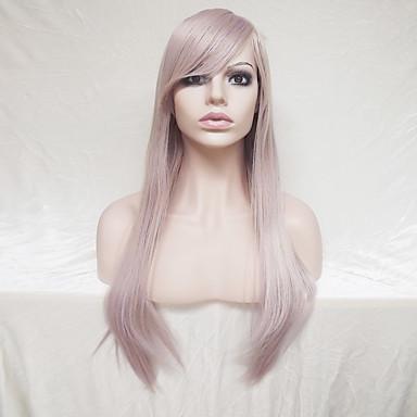 Szintetikus parókák Egyenes Szőke Aszimmetrikus frizura / Bretonnal Szintetikus haj Természetes hajszálvonal Szőke Paróka Női Hosszú Sapka nélküli
