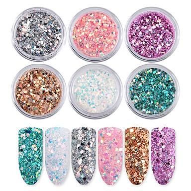 6pcs 6 Pieces Purse Set Sequins / Glitter Powder Shiny / Glamour Nail Art Design