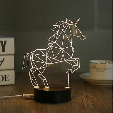 1 Set, Popular Home Acrylic 3D Night Light LED Table Lamp USB Mood Lamp Gifts, Horse