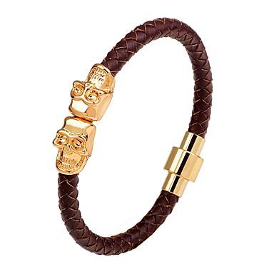 Men's Leather Bracelet / Magnetic Bracelet - Leather Skull Punk, Hip-Hop Bracelet Black / Silver / Brown For Stage / Club