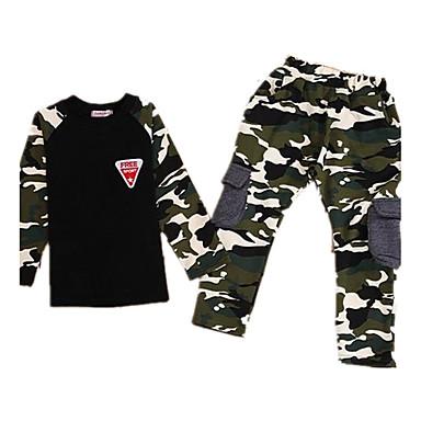 Kids Boys' Camouflage Long Sleeve Regular Regular Cotton Clothing Set Army Green