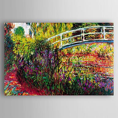 Hang festett olajfestmény Kézzel festett - Landscape Modern / kortárs Vászon / Nyújtott vászon