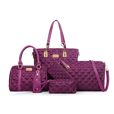 Women's Bags Nylon Bag Set Zipper Black / Blushing Pink / Purple