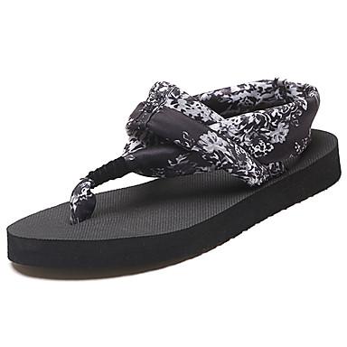 Women's Shoes PU(Polyurethane) Summer Light Soles Sandals Flat Heel Round Toe Ribbon Tie Black / Red