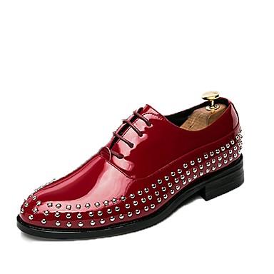 Férfi cipő PU Tavasz Ősz Kényelmes Félcipők Szegecs Fűző mert Hétköznapi Fekete Piros Kék