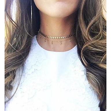 billige Mote Halskjede-Dame Krystall Choker Halskjede Dusk damer dusk Elegant Legering Gull Halskjeder Smykker Til Daglig Avslappet Aftenselskap Formell Stevnemøte