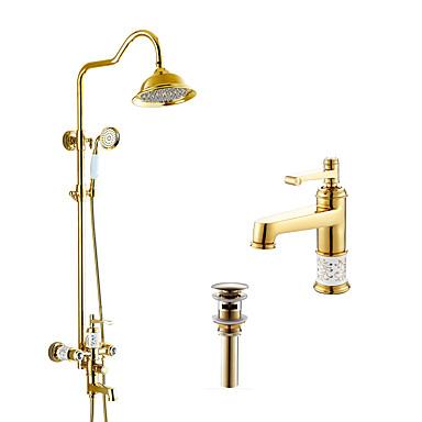 Antike Art déco/Retro Modern Duschsystem Regendusche Verbreitete Handdusche inklusive Keramisches Ventil Zwei Löcher Drei Handgriffe Zwei