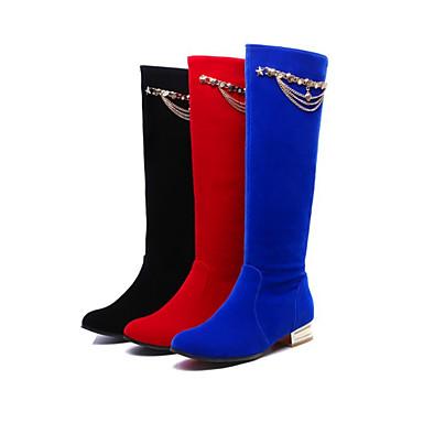 Bout Rouge Mode Hiver Nubuck Bottes Talon Noir la Bottes mollet Mi Bottes Confort Plat Automne à 06224199 Cuir Femme rond Rivet Chaussures gqnwBIRWO