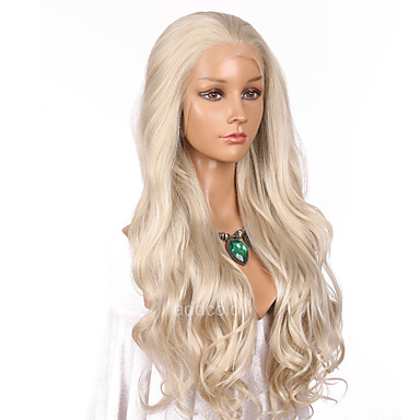 Synthetic Lace Front Wig Wavy Blonde Synthetic Hair Natural Hairline Blonde Wig Women's Long Lace Front