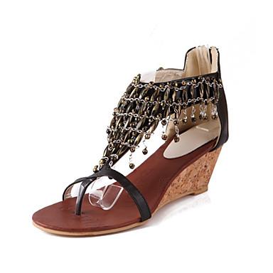 Women's Shoes PU(Polyurethane) Summer / Fall Comfort / Novelty Sandals Rivet Wedge Heel Open Toe Rivet Sandals / Zipper Black / Almond / Wedding a1aa93