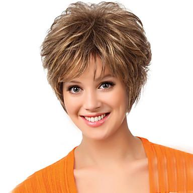 Szintetikus parókák Természetes hullám Sűrűség Sapka nélküli Női Barna Természetes paróka Rövid Szintetikus haj