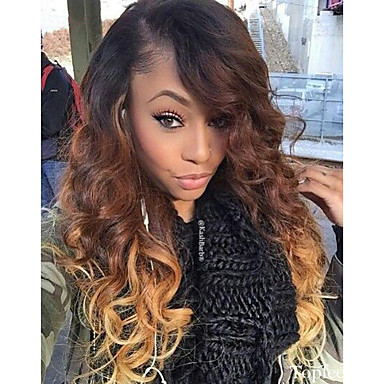 Human Hair Glueless Lace Front / Lace Front Wig Brazilian Hair Body Wave Wig 130% Ombre Hair / Natural Hairline / 100% Hand Tied Ombre Women's Medium Length / Long Human Hair Lace Wig