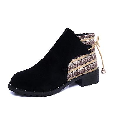 Női Cipő PU Ősz Közepesen magas szárú bakancs Kényelmes Csizmák Alacsony Erősített lábujj Bokacsizmák Cipzár mert Fekete Khakizöld