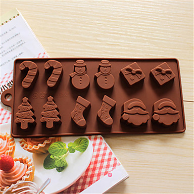 Snowman Christmas Trees Chocolate Silicone Mold Cookies Moulds Fondant Cake Decorating