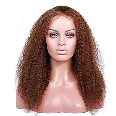 Remy haj Csipke korona, szőtt Tüll homlokrész Csipke Paróka Brazil haj Kinky Curly Paróka 130% 150% 180% Haj denzitás baba hajjal Természetes hajszálvonal 100% Szűz A feldolgozatlan 100% kézi