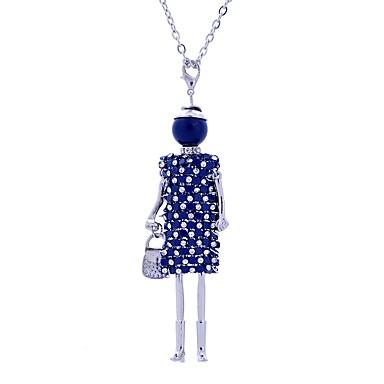 levne Dámské šperky-Dámské Náhrdelníky s přívěšky Dlouhé Princezna dámy Přizpůsobeno Luxus Krajka Slitina Stříbrná Tmavomodrá Hnědá Náhrdelníky Šperky Pro Podium Rande