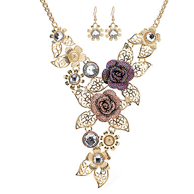 Women's Statement Necklace - Rhinestone, Rose Gold Plated Flower, Fox Statement, Vintage Gold Necklace For Stage, Work