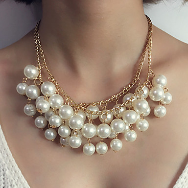 Women's Pendant Necklace / Statement Necklace - Imitation Pearl Statement, Luxury White Necklace Jewelry For Wedding, Evening Party