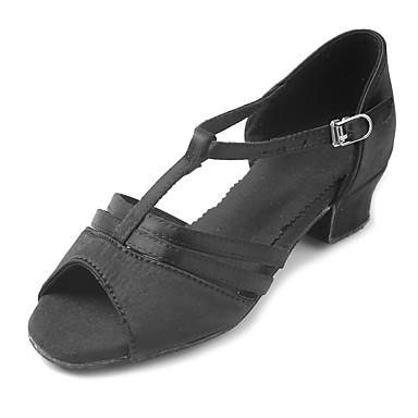 Latin Shoes Satin Sandal / Heel Buckle Chunky Heel Customizable Dance Shoes Black