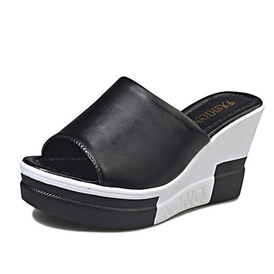 8fc1a0ad71d Women s Shoes PU(Polyurethane) Spring   Summer Slingback Sandals Wedge Heel  Open Toe Split Joint White   Black