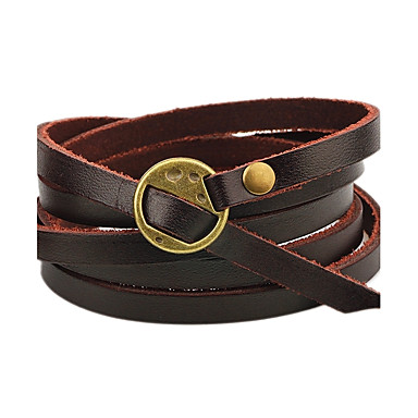 Men's / Women's Leather Bracelet - Leather Personalized, Simple Style Bracelet Coffee / Brown For Casual / Stage
