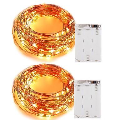 5m أضواء سلسلة 50 المصابيح مصلحة الارصاد الجوية 0603 أبيض دافئ / أبيض / أحمر عيد الميلاد المجيد / ديكور بطاريات آ بالطاقة 2pcs / IP65