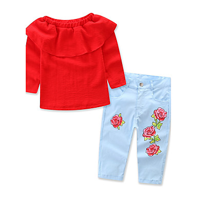 Toddler Girls' Floral / Dresswear Solid Colored / Floral Print Long Sleeve Cotton Clothing Set