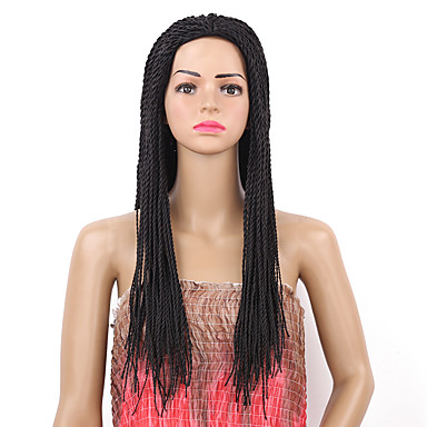 Synthetic Wig Women's Straight Black Synthetic Hair Braided Wig Black Wig Long Capless Natural Black