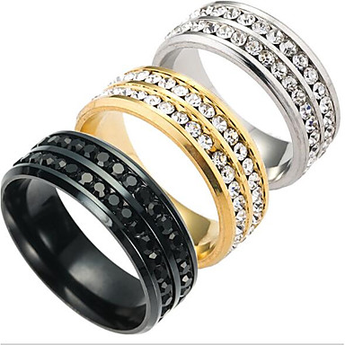 Men's Band Ring - Titanium Steel Fashion 6 / 7 / 8 / 9 / 10 Gold / Black / Silver For Daily