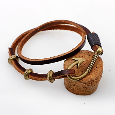 Men's Women's Leather Bracelet - Leather Personalized, Vintage Bracelet Coffee For Casual Going out