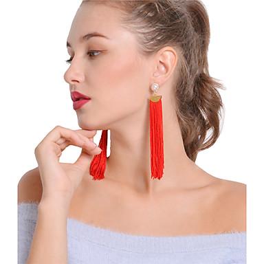 Női Bohém Gyöngyutánzat Gyöngyutánzat Függők / Francia kapcsos fülbevalók - Bohém / Szexi Fekete / Piros Line Shape Fülbevaló