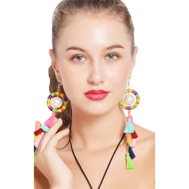 Women's Tassel / Long Drop Earrings - Imitation Pearl Bohemian, Boho Rainbow For Party / Daily