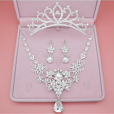 Women's Synthetic Diamond Jewelry Set - Crown Classic, Simple Style Include Stud Earrings Necklace Silver For Wedding Party Birthday / Engagement / Valentine