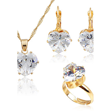 Women's Cubic Zirconia Jewelry Set - Zircon, Gold Plated Simple Style, Fashion Include Gold For Wedding Daily