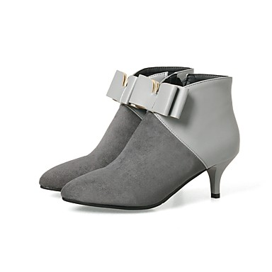 Women's Shoes Nubuck leather / Leatherette Spring / Fall Fashion Boots Boots Pointed Toe Bowknot / Zipper / Split Joint Black / Gray