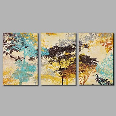 Hand-Painted Leisure Horizontal Panoramic,Rustic Three Panels Canvas Oil Painting For Home Decoration