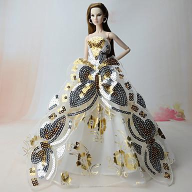 Ruhák Ruhák mert Barbie baba Aranyozott Vászon / pamut keverék / Tüll Ruha mert Lány Doll Toy