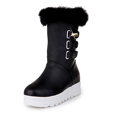 Women's Shoes Leatherette Winter Fall Snow Boots Fluff Lining Boots Platform Wedge Heel Round Toe Mid-Calf Boots Sequin Hook & Loop for