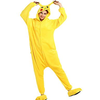 للبالغين بيجاما كيجورومي بيكا بيكا بيجاما ونزي فلانل الصوف أصفر تأثيري إلى الرجال والنساء ملابس للنوم الحيوانات رسوم متحركة هالوين عطلة / عيد