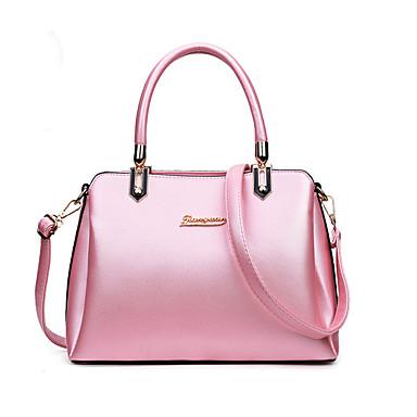 Women's Bags PU Tote Zipper Black / Silver / Blushing Pink