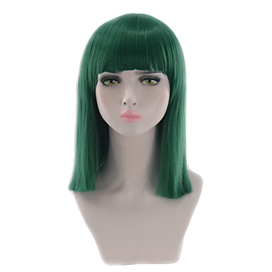 Synthetic Wig Straight Blonde Bob Haircut / With Bangs Synthetic Hair Natural Hairline Blonde / Green Wig Women's Short / Medium Length Capless