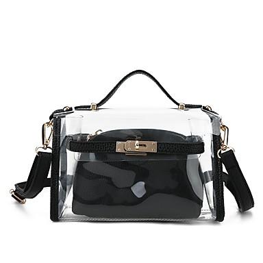 Női Táskák PVC Válltáska 2 db erszényes készlet Zseb Virágminta Fekete / Rubin / Átlátszó táskák