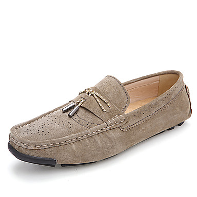Men's Moccasin Suede Fall / Winter Loafers & Slip-Ons Black / Beige / Blue / Party & Evening