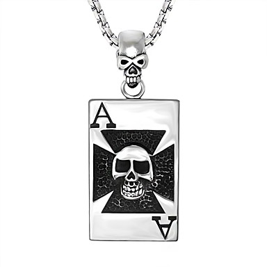 Men's Women's Pendant Necklace - Stainless Steel Skull Personalized, Rock Silver Necklace Jewelry For Holiday, Club