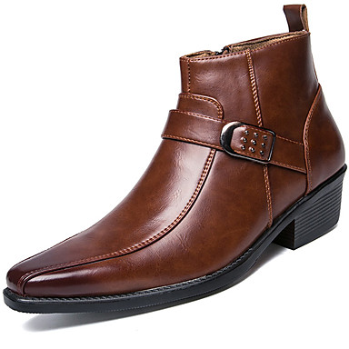 Men's Fashion Boots Patent Leather Fall / Winter Motorcycle Boots Boots Booties / Ankle Boots Black / Brown / Party & Evening