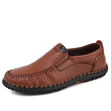 Men's Comfort Shoes Leatherette / Cowhide Fall / Winter Loafers & Slip-Ons Brown / Khaki
